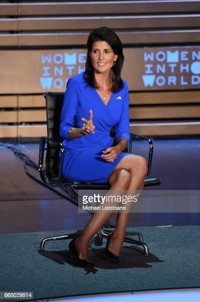 United States Ambassador to the United Nations Nikki Haley speaks during the Eighth Annual Women In The World Summit at Lincoln Center for the...