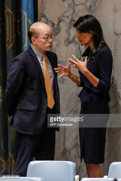 United States Ambassador to the United Nations Nikki Haley speaks with Chinese Ambassador to the United Nations Liu Jieyi before a UN Security...