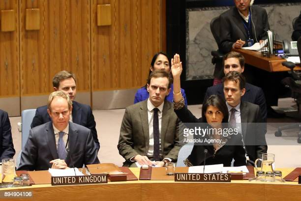 United States Ambassador to the United Nations Nikki Haley uses Veto against Egypt draft on US recognition of Jerusalem at the UN Security Council...