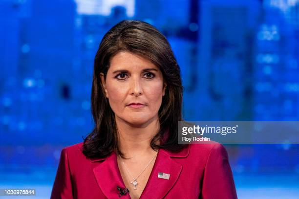 United States Ambassador to the United Nations Nikki Haley visits The Story With Martha MacCallum prior to the UN General Assembly at Fox News...