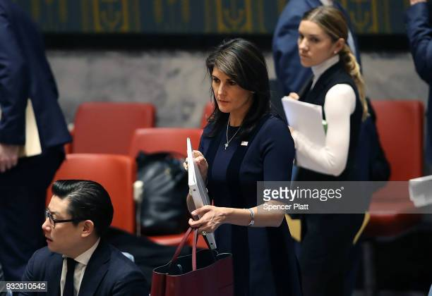 United States Ambassador to the United Nations Nikki Haley walks into the security council after the United Kingdom called for an urgent meeting of...