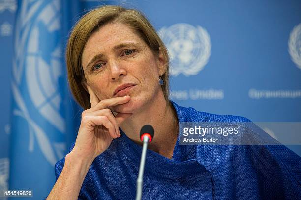 United States Ambassador to the United Nations Samantha Power holds a press conference on September 3 2014 in New York City Power answered questions...
