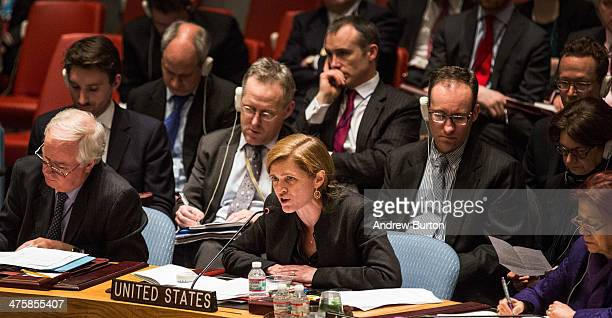 United States Ambassador to the United Nations Samantha Power speaks during a UN Security Council meeting on March 1 2014 in New York City Russia's...
