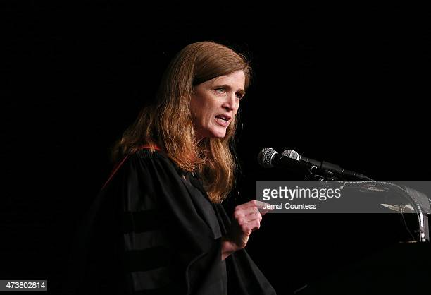 United States Ambassador to the United Nations Samantha Power delivers the keynote address at the 123rd Commencement of Barnard College at The...