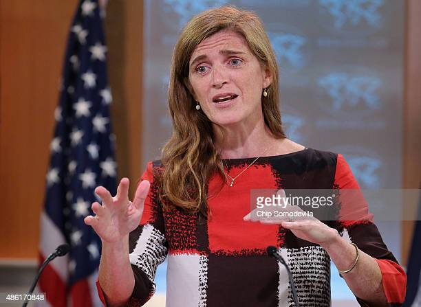 United States Ambassador to the United Nations Samantha Power announces the start of the #FreeThe20 campaign from the State Department September 1...