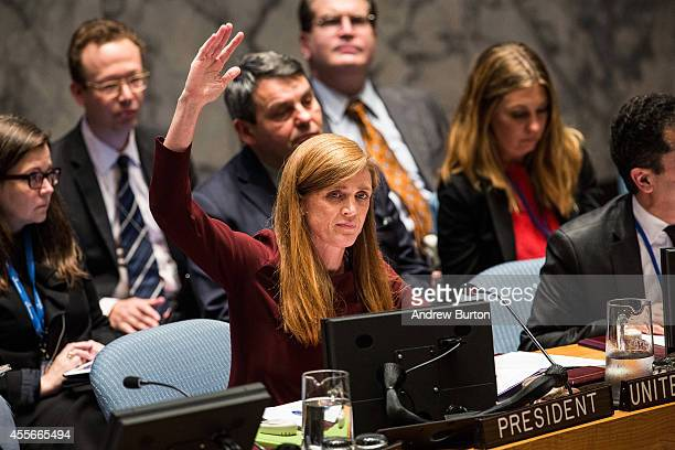 United States Ambassador to the United Nations Samantha Power votes on a resolution during the United Nations Security Council meeting on the ebola...