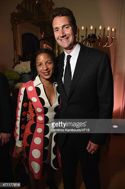 United States Ambassador to the United Nations Susan Rice and Ian Cameron attend the Bloomberg Vanity Fair cocktail reception following the 2015 WHCA...