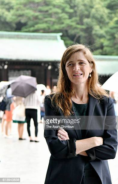 United States Ambassador to the United Nations US Samantha Power poses for photographs at Meiji Jingu Shrine on October 8 2016 in Tokyo Japan