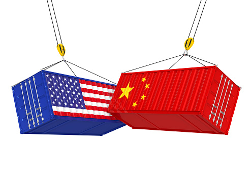 United States and China Cargo Container Isolated. Trade war Concept 937723226