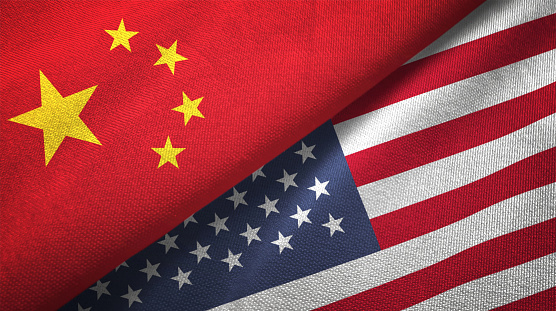 United States and China two flags together realations textile cloth fabric texture 1089916444