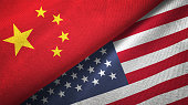 United States and China two flags together realations textile cloth fabric texture