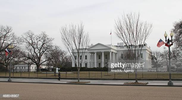 United States and France national flags are displayed in front of the White House in Washington ahead of French President Francois Hollande's...