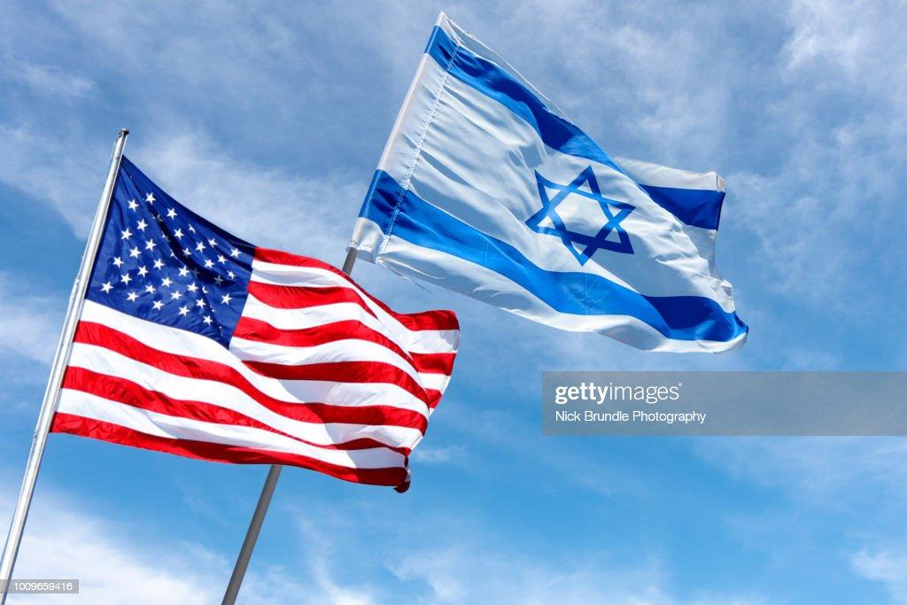 United States and Israel flags, Jerusalem, Israel : Stock Photo
