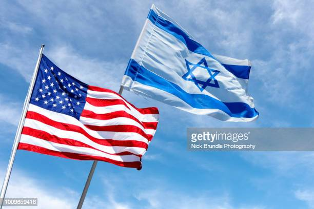 united states and israel flags, jerusalem, israel - judaism stock pictures, royalty-free photos & images