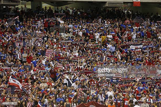 United States and Mexico fans cheer for their teamduring an international friendly match at the Alamodome on April 15 2015 in San Antonio Texas