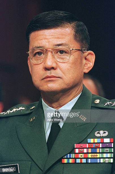 United States Army Chief of Staff General Eric K Shinseki testifies before the Senate Armed Services Committee during a hearing on military readiness...