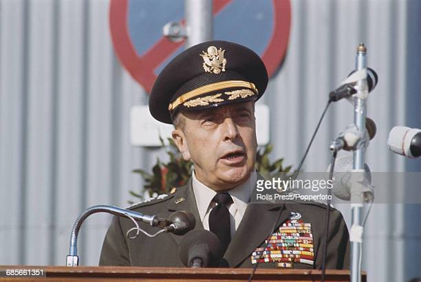 United States Army General Lyman Lemnitzer Supreme Allied Commander of NATO pictured speaking from a lectern in Paris in 1968 during a period of...