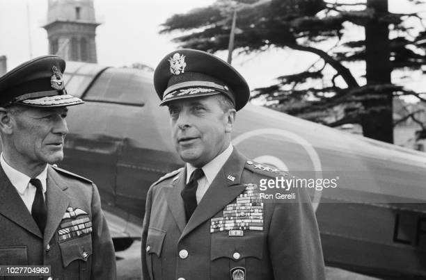 United States Army general Lyman Lemnitzer with Air Marshal Douglas Griffith Morris at RAF Bentley Priory London UK 27th May 1964