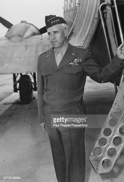 United States Army General Omar Bradley , current Administrator of Veterans Affairs, arrives at an airfield in San Francisco, California to meet with...