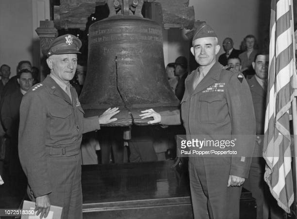 United States Army Generals Carl Spaatz , on left, and Omar Bradley pictured together beside the Liberty Bell during a tumultuous reception in...