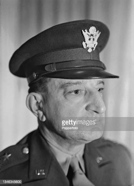 United States Army officer Major General Russell P Hartle , Commander of V Corps, in his office in the United Kingdom during World War II on 22nd...