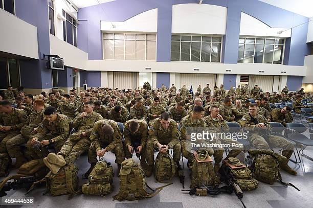 United States Army personnel prepare to leave for a deployment to Afghanistan from Fort Campbell on Wednesday November 05 2014 in Fort Campbell KY...