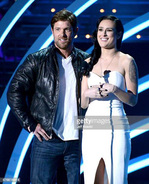 United States Army soldier Noah Galloway and actress Rumer Willis speak onstage at the 2015 CMT Music awards at the Bridgestone Arena on June 10 2015...