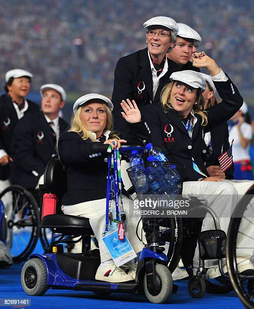 United States athletes parade during the opening ceremony of 2008 Paralympic Games in Beijing on September 6 2008 at the National Stadium also known...
