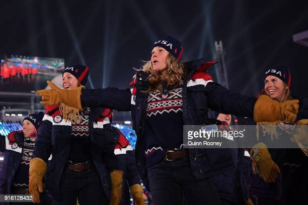 United States athletes take part during the Opening Ceremony of the PyeongChang 2018 Winter Olympic Games at PyeongChang Olympic Stadium on February...