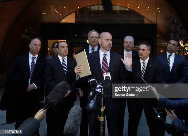 United States Attorney Andrew Lelling addresses the media at John Joseph Moakley United States Courthouse in Boston on Jan. 23, 2020 after the...