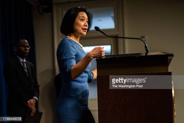 United States Attorney for the District of Columbia Jessie K Liu answered questions from the media during a press conference on Wednesday February 6...