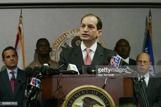 United States Attorney for the Southern District of Florida Alexander Acosta speaks with the media during a press conference regaurding the arrest of...