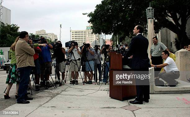 United States Attorney for the Southern District of Florida R Alexander Acosta speaks to the media about the case of Carlos Alvarez and his wife Elsa...