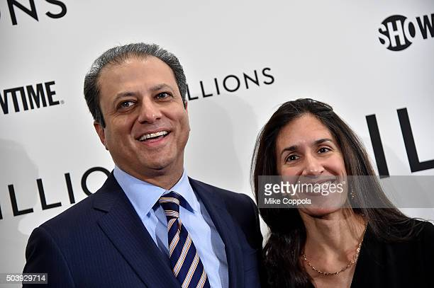 United States Attorney for the Southern District of New York Preet Bharara and Dalya Bharara attend the Showtime series premiere of Billions at The...