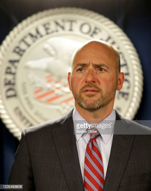United States Attorney for the United States District Court for the District of Massachusetts Andrew E. Lelling speaks during a press conference at...