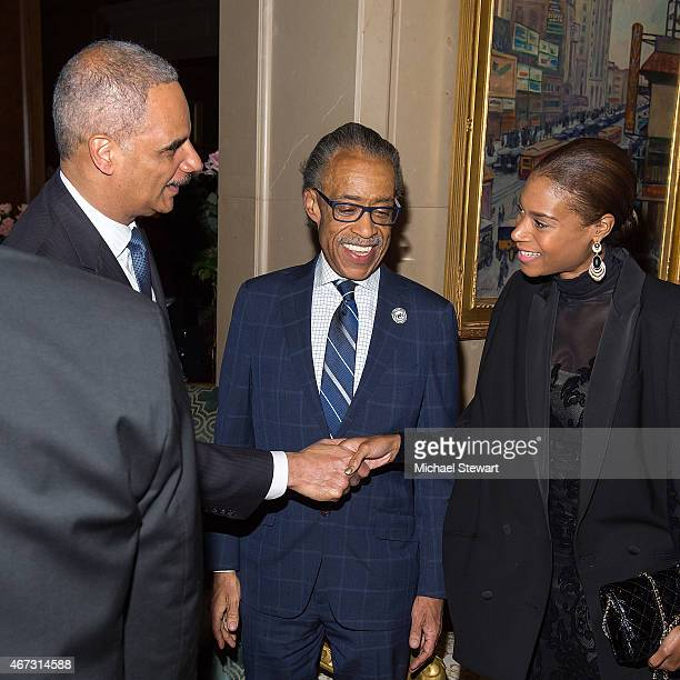 United States Attorney General Eric Holder Reverend Al Sharpton and Aisha McShaw attend Aretha Franklin's Birthday Celebration at the Ritz Carlton...