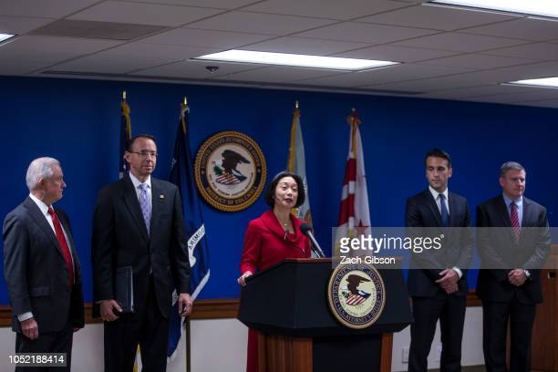 United States Attorney General for the District of Columbia Jessie Liu speaks during a news conference on efforts to reduce transnational crime at...