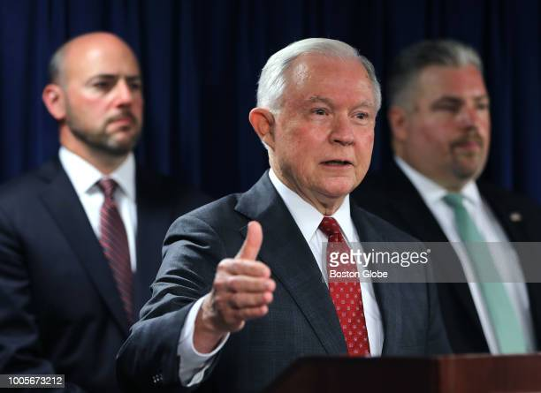 United States Attorney General Jeff Sessions attends a press conference with other officials in the John Joseph Moakley United States Courthouse in...