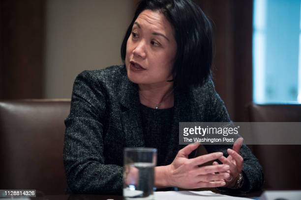 United States Attorney General Jessie Liu for the District of Columbia speaks to President Donald Trump during a meeting with law enforcement...