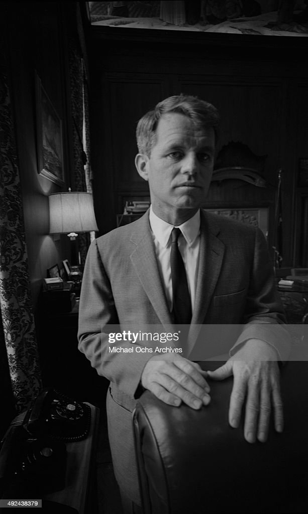United States Attorney General Robert Kennedy poses for a portrait in his Justice Department office circa 1964 in Washington, DC.