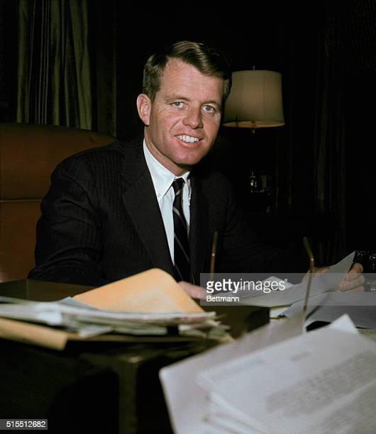 United States Attorney General Robert Kennedy working at his desk