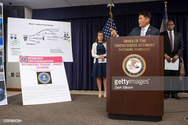 United States Attorney Robert Hur speaks at a news conference about the indictment of Kevin Merrill Jay Ledford and Cameron Jezierski by a Maryland...