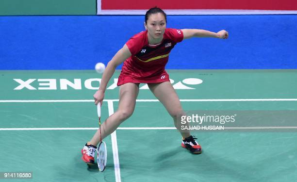 United States badminton player Beiwen Zhang plays a return against Indian badminton player PV Sindhu during their women's singles final badminton...