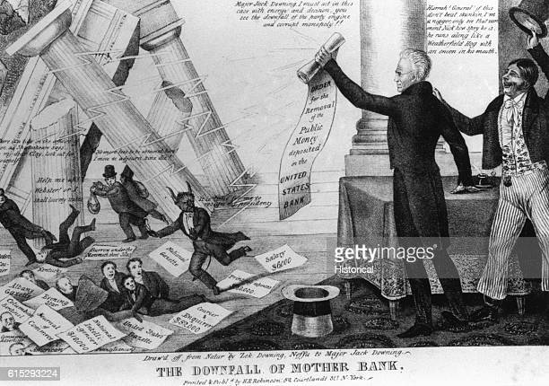 United States Bank officials run for cover as President Andrew Jackson overthrows the bank by vetoing the renewel of its charter