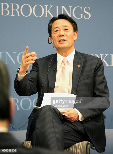 WASHINGTON United States Banri Kaieda president of the main opposition Democratic Party of Japan delivers a speech at the Brookings Institution think...