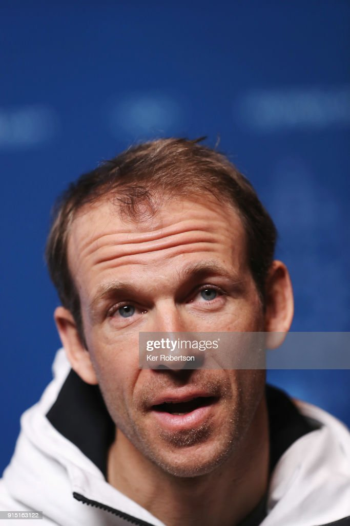 United States biathlete Lowell Bailey2 attends a press conference at the Main Press Centre during previews ahead of the PyeongChang 2018 Winter Olympic Games on February 7, 2018 in Pyeongchang-gun, South Korea.