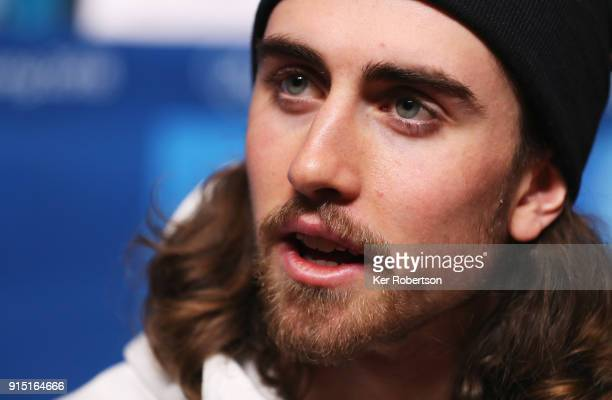 United States biathlete Sean Doherty attends a press conference at the Main Press Centre during previews ahead of the PyeongChang 2018 Winter Olympic...