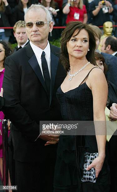 Bill Murray accompanied by wife Jennifer Butler arrives for the 76th Academy Awards ceremony 29 February 2004 at the Kodak Theater in Hollywood CA...