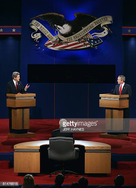Bob Schieffer CBS newsman and moderator of the third presidential debate faces US President George W Bush and Democratic challenger John Kerry 13...