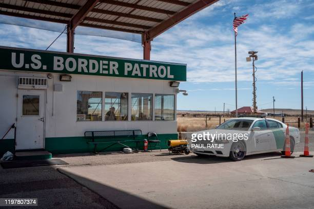 United States Border Patrol checkpoint is pictured near Marfa, Texas on January 29, 2020. - Agents in the Big Bend Border Patrol Sector employ...